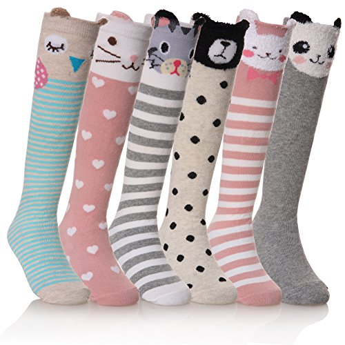 NOVCO Girls Knee High Socks Cartoon Animal Patterns Cotton Over Calf Socks (6 Pairs Animal)]()