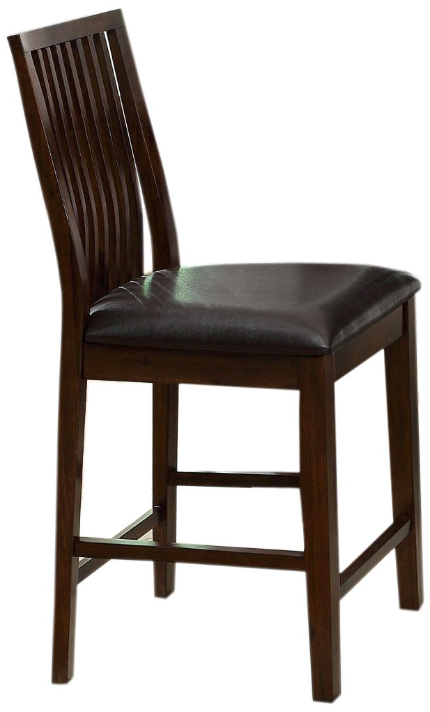 Furniture of America Denver Leatherette Counter Height Dining Chair, Walnut, Set of 2