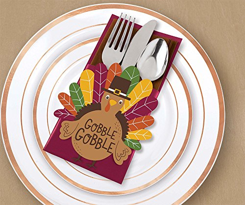 """""""Gobble Gobble"""" Thanksgiving Deluxe Cutlery Holders, 7.5"""" x 4.8"""", 12 Ct."""