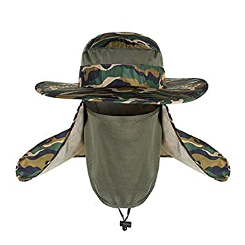 912b173365154 Image Unavailable. Fashion Summer Outdoor Sun Protection Wide Brim Cap  Removable Mesh Neck Face Flap Fishing Farmer Gardener