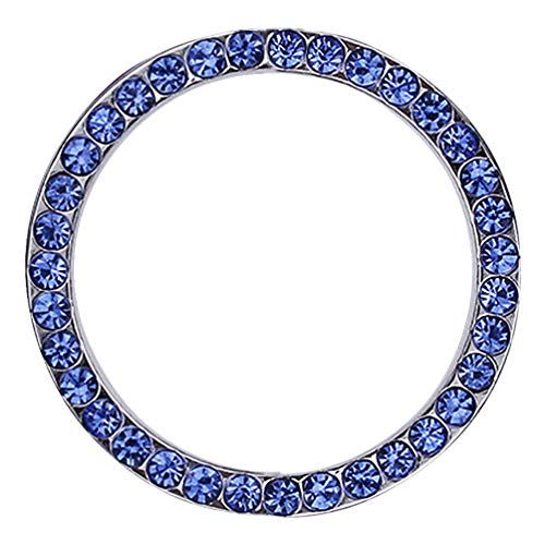 - idain Car Decor Bling Crystal Rhinestone Ring Car Accessories for Auto Start Engine Ignition Button Key or Knobs Car Bling Sticker Ring Emblem (Blue)