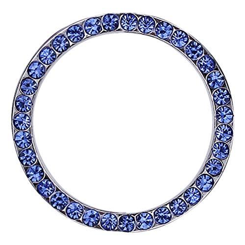 idain Car Decor Bling Crystal Rhinestone Ring Car Accessories for Auto Start Engine Ignition Button Key or Knobs Car Bling Sticker Ring Emblem (Blue) (Cute Car Accessories Blue)