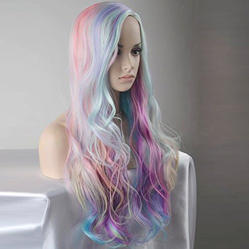 BERON Long Curly Multi-Color Charming Full Wigs for Cosplay Girls Party or Daily Use Wig Cap Include - http://coolthings.us