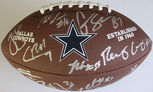 - 2018 Dallas Cowboys team signed autographed logo football, COA with the Proof Photos of the Cowboys Players Signing the Football Will Be Included