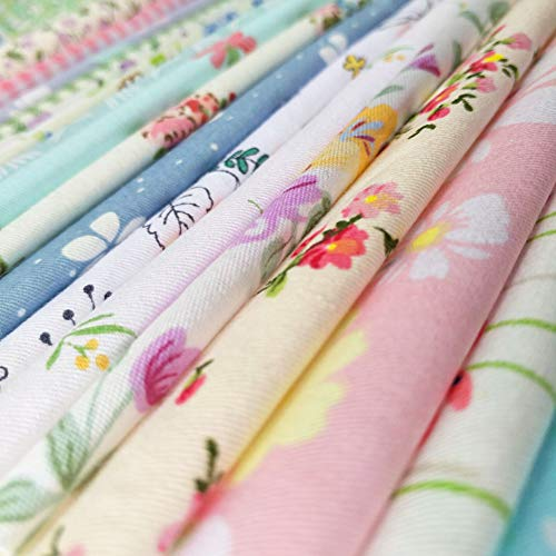 60pcs Quilting Fabric Squares Sheets 60 Different Lovely Floral Pattern Pack Assorted Sewing Quilting Fabric for Craft 12