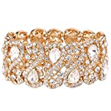 EVER FAITH Women's Austrian Crystal Teardrop 8-Shaped Knot Elastic Stretch Bracelet Clear Gold-Tone