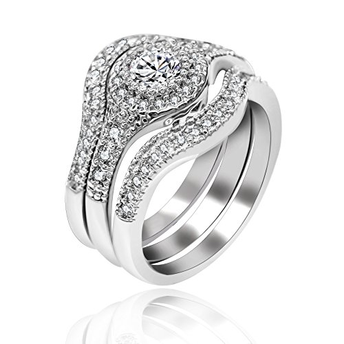 Uloveido White Gold Plated Cubic Zirconia Wedding Ring 3 Sets Stackable Rings Engagement Bridal Band Solitaire Accent RA0346 (Size 7) ()