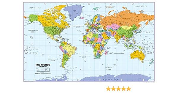 A0 vinilo mapa del mundo [mm]: Amazon.es: Oficina y papelería