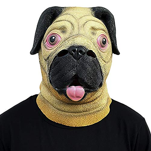 Novelty Rubber Latex Full Head Overhead Animal Cute Pug Dog Helmet Mask for Cospaly Party Yellow