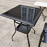 Patio Festival Outdoor Bistro Bar Table,Patio Metal Steel Slat Dining Side Table 2-Tier Tempered Glass Top with Storage