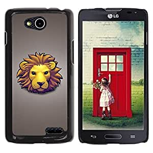Qstar Arte & diseño plástico duro Fundas Cover Cubre Hard Case Cover para LG OPTIMUS L90 / D415 ( Lion Face Mane Yellow Big Cat Art Drawing Cartoon)