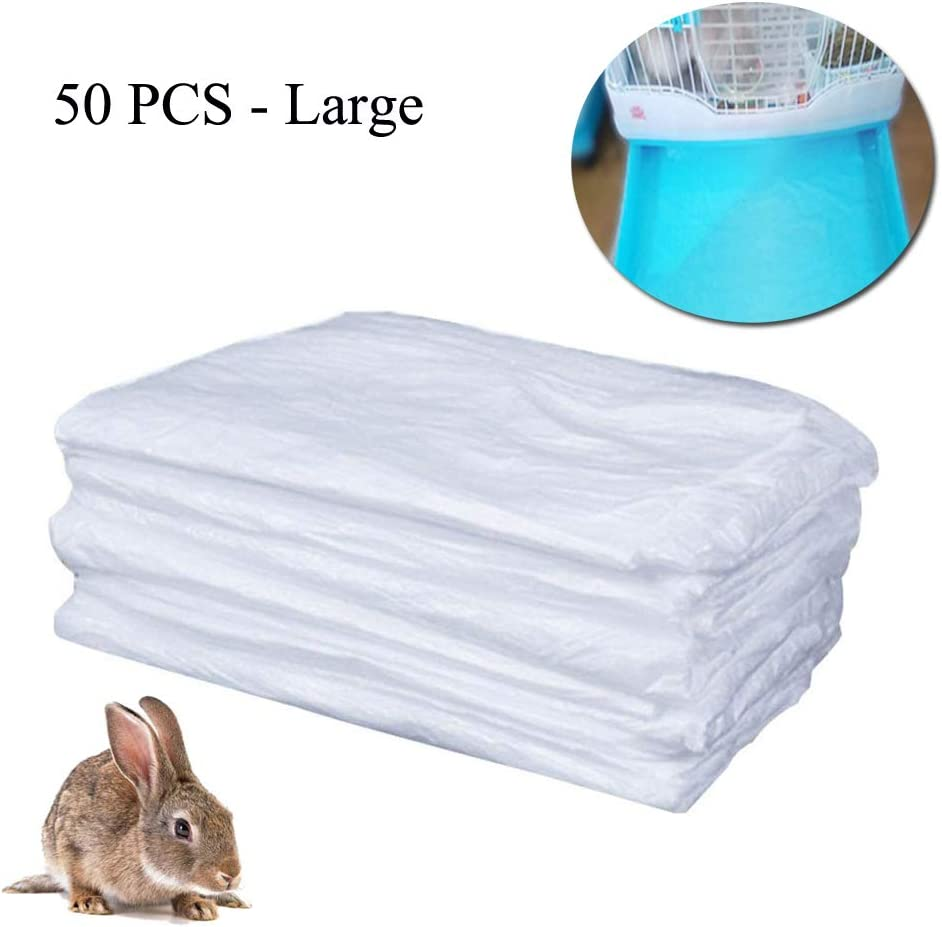 TESLUCK Disposable Rabbit Cage Liner, Plastic Guinea Pig Cage Mat Film to Replace Diapers Suitable for Most Rabbit, Bunny, Hamster, Hedgehog & Small Animals Cage, Universal Toilet Film, 50PCS