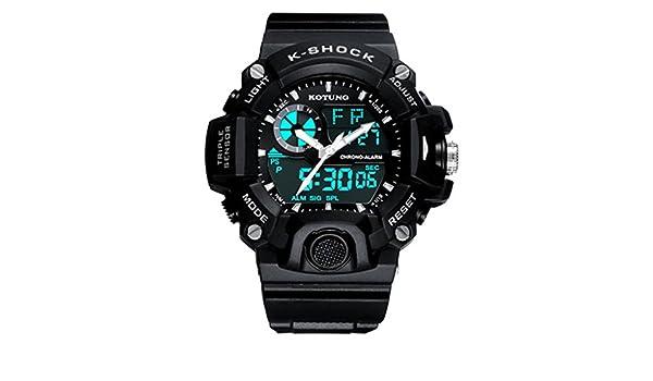 Hombres/doble pantalla/al aire libre impermeable/reloj de deportes/montaña electrónica forma/LED alumno reloj multi-función, 4: Amazon.es: Relojes