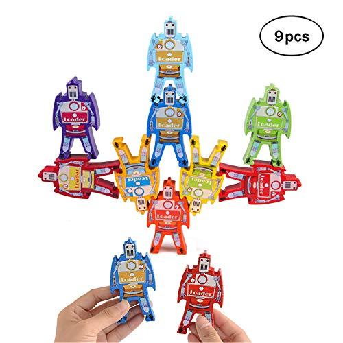 MIMIDOU Robot Wooden Stacking Toy Set of 16pcs Balancing Blocks Games Toddler Educational Block Toys for Kids Children. (Robot 9pcs) (Schylling Robot)