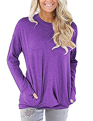 Girls Full Button Jersey (UXELY Teen Girls Full Sleeve Tunic Tops,Solid Tshirts For Women,Purple XL)
