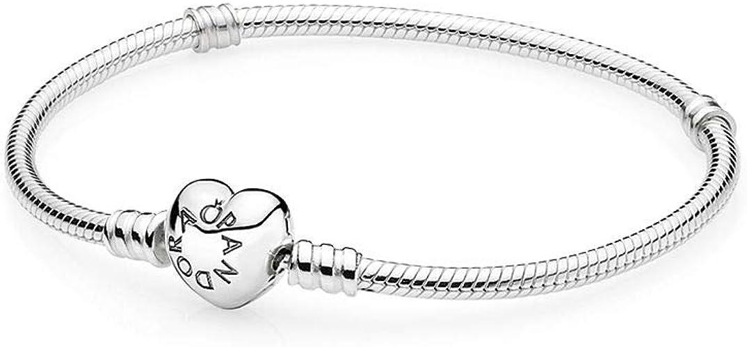 PANDORA 590719-21 Sterling Silver Heart Clasp Bracelet, 8.3