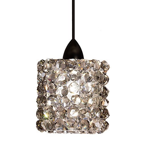 WAC Lighting MP-LED539-BI/DB Mini Haven LED Crystal Pendant Fixture with Dark Bronze Canopy, One Size, Black Ice (Pendant Monopoint Crystals)