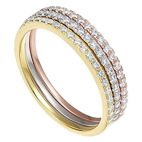 14k Tri Color Band Ring - NNIOV Eternity Ring, Full Half Twist Eternity Style, 14K Gold Plated 925 Sterling Silver CZ Simulated Diamond Stackable Ring | Matching Bands for Women (Half Eternity - Tri Color Set, 9)