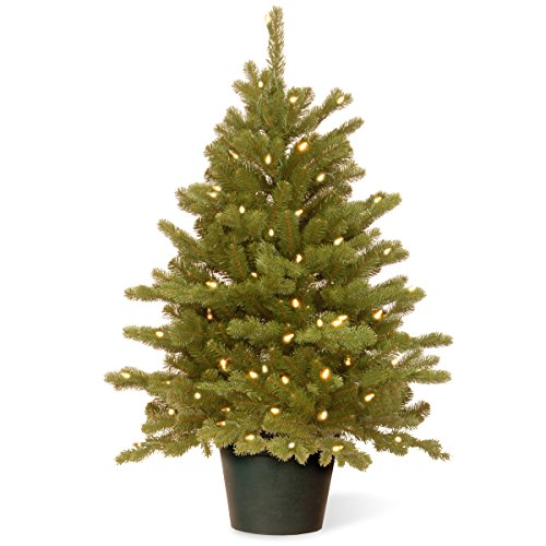 National Tree 3 Foot Feel Real Hampton Spruce Wrapped Tree with 100 Clear Lights in Growers Pot (PEHA3-306-30) -  National Tree Co.