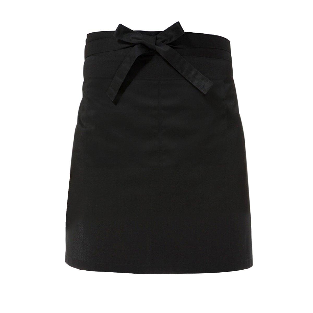 schwarz Tinksky Taille-Sch/ürze Kochen kurze Sch/ürze Kellner-Sch/ürze mit Doppel-Seitentaschen