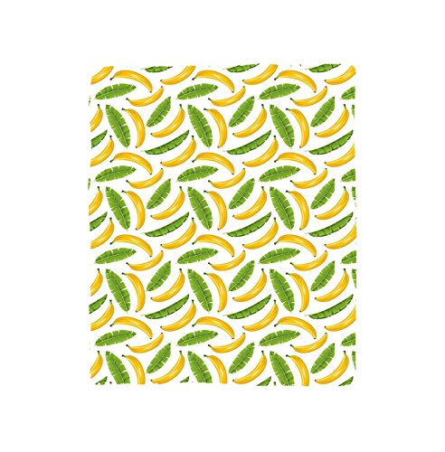 VROSELV Custom Blanket Playroom Banana Leaves Yummy Tropical Fruit Vacation Symbol Icons Climate Kids Print Bedroom Living Room Dorm Fern Green Yellow