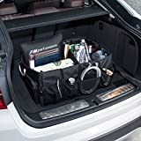 MIU COLOR Foldable Cargo Trunk Organizer Big Capacity Washable Storage with Metal Handles Black (NO COOLER)