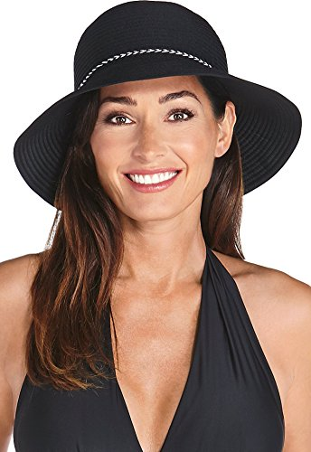 Coolibar UPF 50+ Women's Ribbon Bucket Hat - Sun Protective (One Size - Black) (Ribbon Sun Hat)
