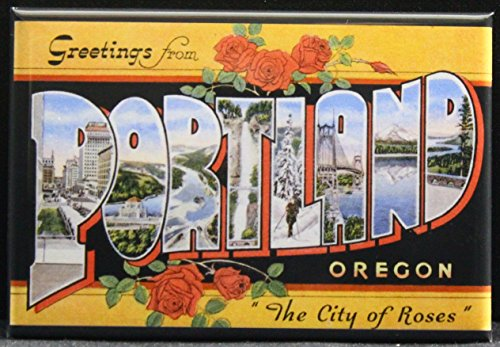 Greetings from Portland Vintage Postcard Refrigerator Magnet.