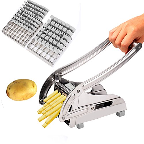 Anfan French Fry Cutter Stainless Steel Potato Slicer with 2 Interchangeable Blades for Vegetable and Fruit (Potato/Onion/Cucumber/Apple) - French Onion Potatoes
