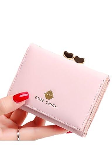 ce6be090fa0d Amazon   yasushoji 財布 レディース かわいい がま口 三つ折り かぶせ オシャレ アニマル スタイル 大容量 ピンク YS1530    財布