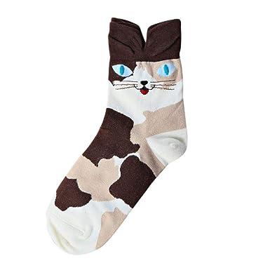 Foruu - Calcetines de algodón cálidos y suaves para mujer, diseño de animales de dibujos