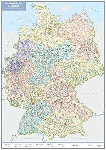Postleitzahlen Karte Deutschland.Postleitzahlenkarte Deutschland Gefalzt In Kunststofftasche