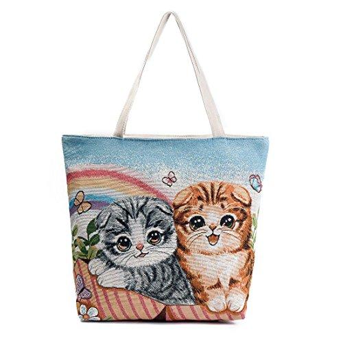 Mujer Bolso Casual gran Tipo bordar encantador Mujeres De capacidad Multicolor5 Dunland gato Lienzo Para Cuero XFgH8