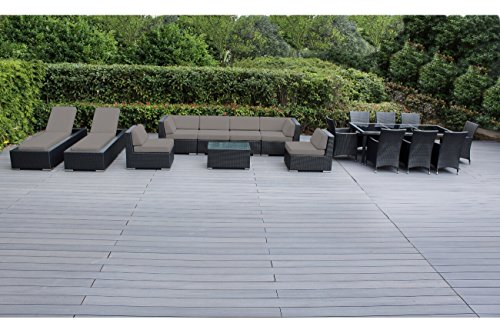 Genuine Ohana Outdoor Sectional Sofa and Dining Wicker Patio Furniture Set with Free Patio Cover (18 pc set/Sunbrella Taupe)