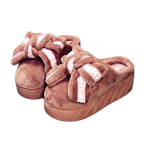 Cybling Invierno Mujeres Cálida Casa Zapatilla Lindo Suave Felpa Zapatos De Interior Suela Gruesa Confort Rosa1