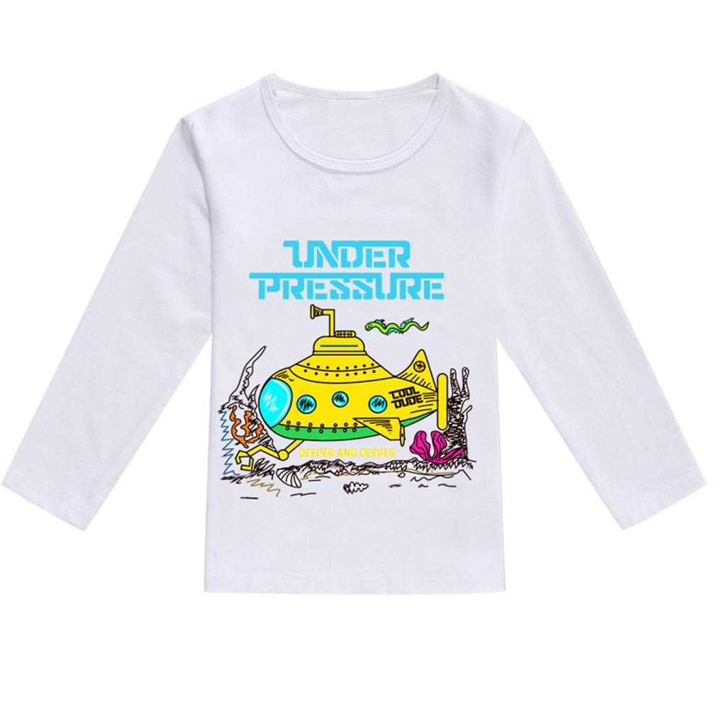 NUWFOR Toddler Baby Kids Boys Girls Spring Cartoon Print Tops T-Shirt Casual Clothes(Yellow,3-4 Years)