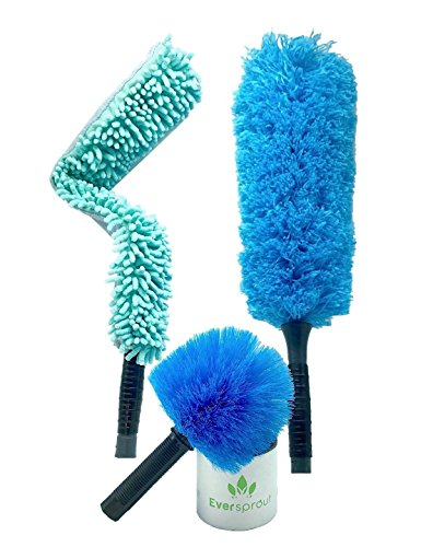 EVERSPROUT Duster 3-Pack | Hand-Packaged Cobweb Duster, Microfiber Feather Duster, Flexible Microfiber Ceiling & Fan Duster | Twists onto Standard 3/4 Acme Threaded Poles (Pole not Included)