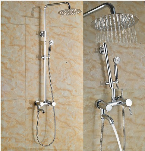 Gowe 10-in Chorme Polish Shower Set Bathroom Wall Mounted Single Handle Mixer Faucet Square Shower Head 1
