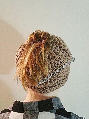 Messy Bun Ponytail Crochet Hat #2 Openwork Design ()