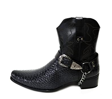 2406250f0b9 Mens Faux Leather Cowboy Western-Inspired Biker Ankle Boots Pointed Toe  (Japan)