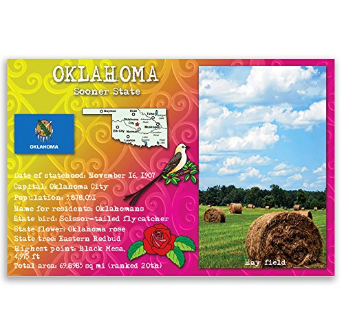 OKLAHOMA STATE FACTS postcard set of 20 identical postcards. Post cards with OK facts and state symbols. Made in (Oklahoma Set)