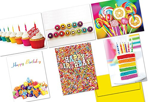 72 Birthday Cards - Colorful Birthday - 6 Designs - Yellow Envelopes Included