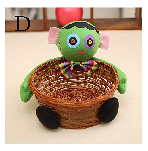 1pc Party Bamboo Table Storage Decoration Halloween Pumpkin Candy Basket Holder D -