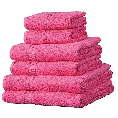 6 toallas de hotel - 100% extraordinario algodón egipcio - Fucsia: Amazon.es: Hogar