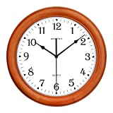 KAMEISHI 12-inch Wood Wall Clock Battery Operated Non-Ticking Quiet Sweep Second Silent Round Simple For Living Room Kitchen Bedroom Large Numbers Quartz Wall Clock Decorative KSW237U Brown Review