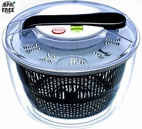 Xileny Salad Spinner Lettuce washer and Dryer - 5L Capacity & BPA Free Non-Skid Base and Easy Break Button - Prepares Leafy Greens Salad in an Instant - Innovative Design Black and white