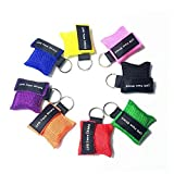 Juweishangmao 10PCS Emergency Rescue CPR Mask, Keychain Resuscitator Key Ring Face Shield with One-Way Valve Breathing Barrier for First Aid, Multi-Color