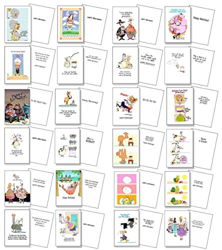 Funny Birthday Card Assorted Pack of 24 Cards & 25 Envelopes - Boxed Set - Assortment #2 Funny Cards (Assortment Boxed)