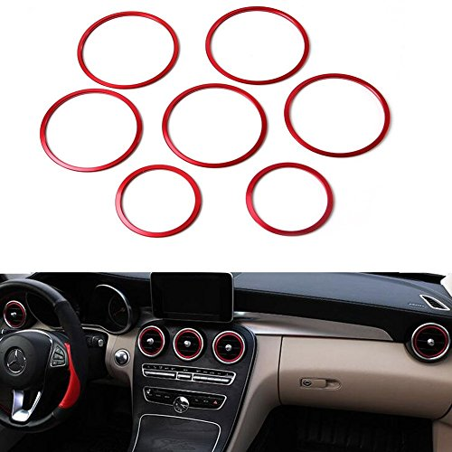 Angelguoguo Red Car Air Outlet Decoration Ring Cover Sticker Fit for Mercedes Benz 2015 2016 C class GLC class W205 C160 180 200 260 300 (Red-inner ring)