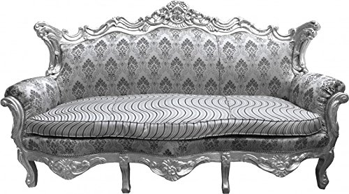 Casa Padrino Barock Sofa Master Silber Muster / Silber - Wohnzimmer Couch Möbel Lounge